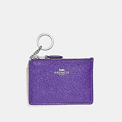 COACH F12186 Mini Skinny Id Case In Crossgrain Leather SILVER/PURPLE