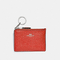 COACH F12186 Mini Skinny Id Case SILVER/WATERMELON