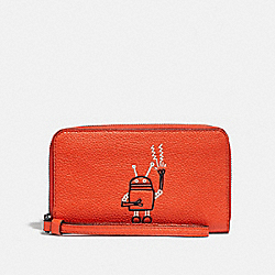 COACH F12187 - KEITH HARING PHONE WALLET BRIGHT ORANGE/BLACK ANTIQUE NICKEL