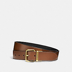 WIDE JEANS BUCKLE CUT-TO-SIZE REVERSIBLE BURNISHED LEATHER BELT - f12189 - DARK SADDLE