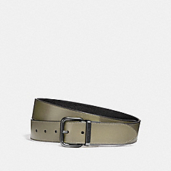 WIDE JEANS BUCKLE CUT-TO-SIZE REVERSIBLE BURNISHED LEATHER BELT - f12189 - MILITARY GREEN/BLACK