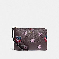 CORNER ZIP WRISTLET IN WILDFLOWER PRINT COATED CANVAS - f12521 - LIGHT GOLD/OXBLOOD 1