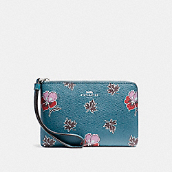 COACH F12521 Corner Zip Wristlet In Wildflower Print Coated Canvas SILVER/DARK TEAL