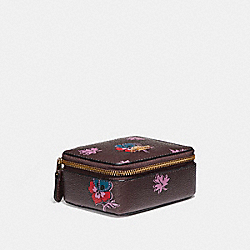 JEWELRY BOX IN WILDFLOWER PRINT COATED CANVAS - f12522 - LIGHT GOLD/OXBLOOD 1