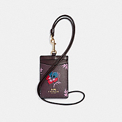 COACH F12554 Id Lanyard In Wildflower Print Coated Canvas LIGHT GOLD/OXBLOOD 1