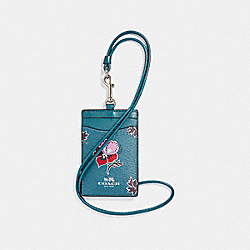 COACH F12554 Id Lanyard In Wildflower Print Coated Canvas SILVER/DARK TEAL