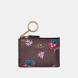 MINI SKINNY ID CASE IN WILDFLOWER PRINT COATED CANVAS - f12555 - LIGHT GOLD/OXBLOOD 1