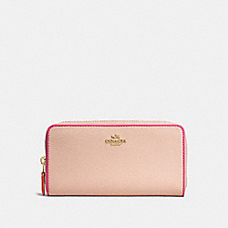 COACH F12585 Accordion Zip Wallet In Polished Pebble Leather With Multi Edgestain IMITATION GOLD/NUDE PINK MULTI