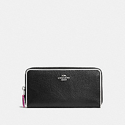 COACH F12585 Accordion Zip Wallet In Polished Pebble Leather With Multi Edgestain SILVER/BLACK MULTI