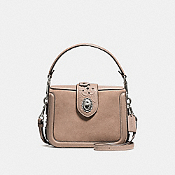 PAGE CROSSBODY WITH PAINTED TEA ROSE TOOLING - f12588 - LIGHT ANTIQUE NICKEL/STONE MULTI