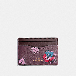 COACH F12773 Flat Card Case In Wildflower Print Coated Canvas LIGHT GOLD/OXBLOOD 1
