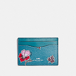 COACH F12773 Flat Card Case In Wildflower Print Coated Canvas SILVER/DARK TEAL