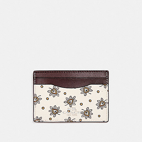 COACH f12821 CARD CASE IN FOREST BUD PRINT COATED CANVAS SILVER/CHALK MULTI