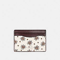 CARD CASE IN FOREST BUD PRINT COATED CANVAS - f12821 - SILVER/CHALK MULTI