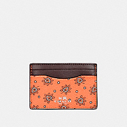 COACH F12821 Card Case In Forest Bud Print Coated Canvas SILVER/CORAL MULTI