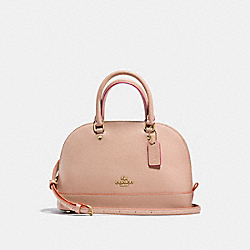 COACH F13310 - MINI SIERRA SATCHEL IN CROSSGRAIN LEATHER WITH MULTI EDGEPAINT IMITATION GOLD/NUDE PINK MULTI
