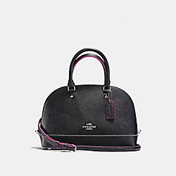 MINI SIERRA SATCHEL IN CROSSGRAIN LEATHER WITH MULTI EDGEPAINT - f13310 - SILVER/BLACK MULTI
