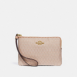 COACH F13311 Corner Zip Wristlet MILK/BEECHWOOD/LIGHT GOLD