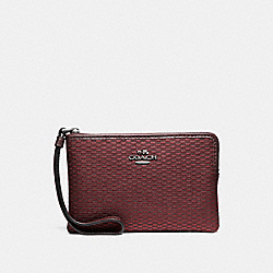 COACH CORNER ZIP WRISTLET IN LEGACY JACQUARD - BLACK ANTIQUE NICKEL/OXBLOOD 1 - F13311