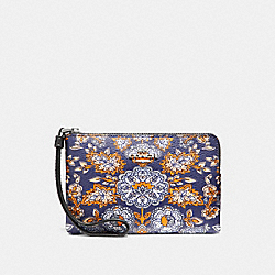 CORNER ZIP WRISTLET IN FOREST FLOWER PRINT COATED  CANVAS - f13314 - SILVER/BLUE