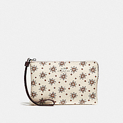 CORNER ZIP WRISTLET IN FOREST BUD PRINT COATED  CANVAS - f13315 - SILVER/CHALK MULTI
