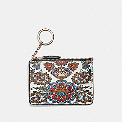MINI SKINNY ID CASE WITH FOREST FLOWER PRINT - F13521 - GOLD/CREAM/RED MULTI