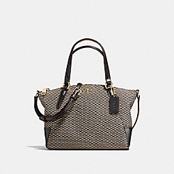 MINI KELSEY SATCHEL IN LEGACY JACQUARD - f13524 - LIGHT GOLD/MILK