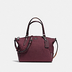 COACH MINI KELSEY SATCHEL IN LEGACY JACQUARD - BLACK ANTIQUE NICKEL/OXBLOOD 1 - F13524