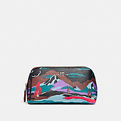 COSMETIC CASE 17 IN LANDSCAPE PRINT COATED CANVAS - f13527 - LIGHT GOLD/BLACK MULTI