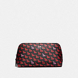 COSMETIC CASE 17 IN BUNNY PRINT COATED CANVAS - f13528 - SILVER/BLACK MULTI