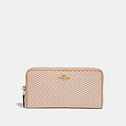 COACH F13677 Accordion Zip Wallet MILK/BEECHWOOD/LIGHT GOLD