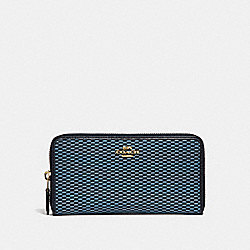 COACH F13677 Accordion Zip Wallet BLUE/MULTI/LIGHT GOLD