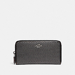 COACH ACCORDION ZIP WALLET IN LEGACY JACQUARD - SILVER/GREY/BLACK - F13677