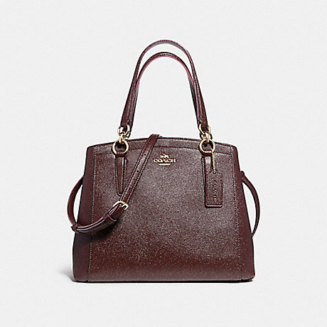 COACH f13683 MINETTA CROSSBODY IN GLITTER CROSSGRAIN LEATHER LIGHT GOLD/OXBLOOD 1