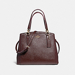 MINETTA CROSSBODY IN GLITTER CROSSGRAIN LEATHER - f13683 - LIGHT GOLD/OXBLOOD 1