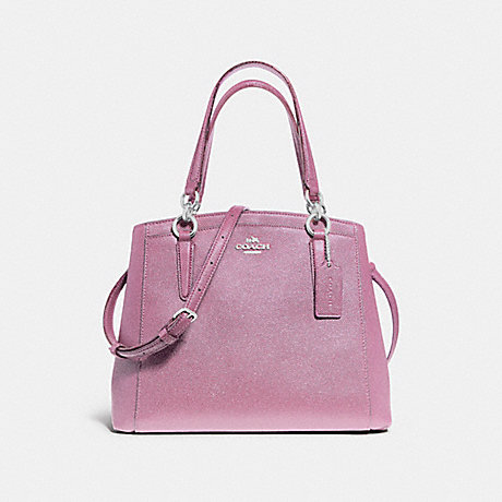 COACH f13683 MINETTA CROSSBODY IN GLITTER CROSSGRAIN LEATHER SILVER/LILAC
