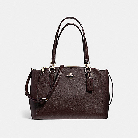 COACH f13684 SMALL CHRISTIE CARRYALL IN GLITTER CROSSGRAIN LEATHER LIGHT GOLD/OXBLOOD 1