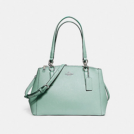 COACH f13684 SMALL CHRISTIE CARRYALL IN GLITTER CROSSGRAIN LEATHER SILVER/AQUA