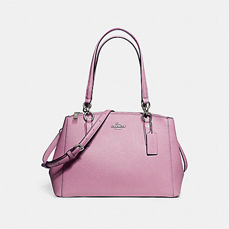 COACH f13684 SMALL CHRISTIE CARRYALL IN GLITTER CROSSGRAIN LEATHER SILVER/LILAC