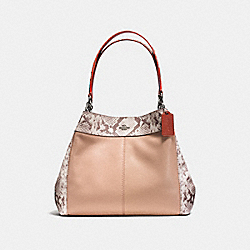 LEXY SHOULDER BAG IN POLISHED PEBBLE LEATHER WITH PYTOHN EMBOSSED LEATHER TRIM - f13691 - SILVER/NUDE PINK MULTI