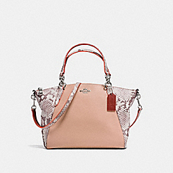 SMALL KELSEY SATCHEL IN REFINED NATURAL PEBBLE LEATHER WITH PYTHON EMBOSSED LEATHER - f13692 - SILVER/NUDE PINK MULTI
