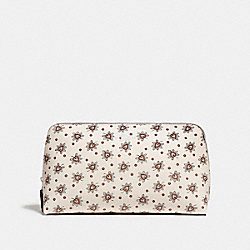 COACH F13696 Cosmetic Case 22 With Forest Bud Print SILVER/CHALK MULTI