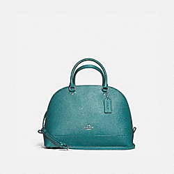 SIERRA SATCHEL IN GLITTER CROSSGRAIN LEATHER - f13711 - SILVER/DARK TEAL