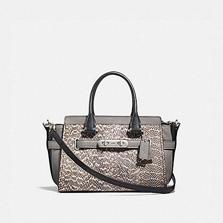 COACH f13735 COACH SWAGGER 27 IN SNAKESKIN NATURAL HEATHER GREY/LIGHT ANTIQUE NICKEL