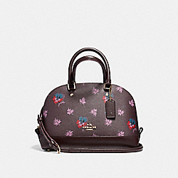 MINI SIERRA SATCHEL IN WILDFLOWER PRINT COATED CANVAS - f13752 - LIGHT GOLD/OXBLOOD 1