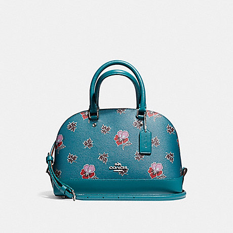 COACH f13752 MINI SIERRA SATCHEL IN WILDFLOWER PRINT COATED CANVAS SILVER/DARK TEAL