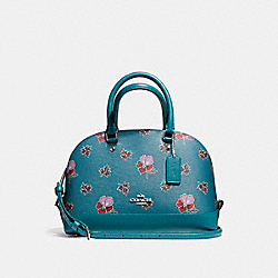 MINI SIERRA SATCHEL IN WILDFLOWER PRINT COATED CANVAS - f13752 - SILVER/DARK TEAL
