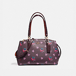 SMALL CHRISTIE CARRYALL IN WILDFLOWER PRINT COATED CANVAS - f13768 - LIGHT GOLD/OXBLOOD 1