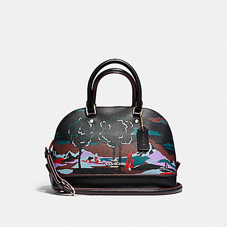 COACH f13937 MINI SIERRA SATCHEL IN LANDSCAPE PRINT COATED CANVAS LIGHT GOLD/BLACK MULTI