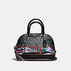 MINI SIERRA SATCHEL IN LANDSCAPE PRINT COATED CANVAS - f13937 - LIGHT GOLD/BLACK MULTI